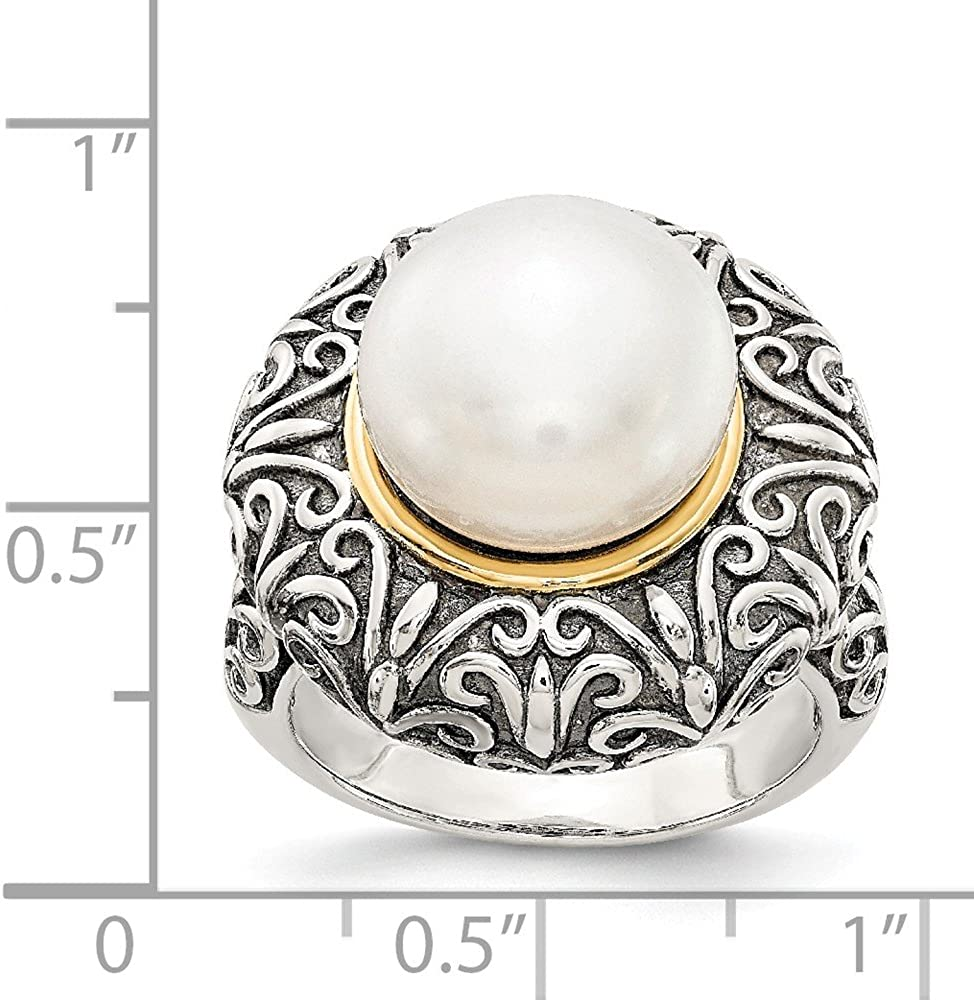 14K White Gold Pearl Ring Band Solid Antiqued 14K Gold Yellow 4 mm 12mm FW Cultured Pearl Ring