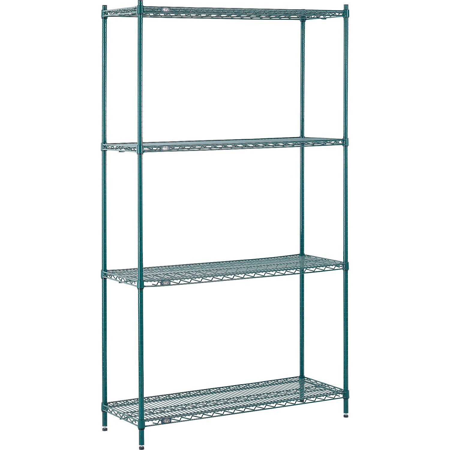 "Nexel Poly-Green Antimicrobial Adjustable Wire Shelving Unit, 4 Tier, Heavy Duty Storage Organizer Rack, 54"" x 24"" x 86"", Green"