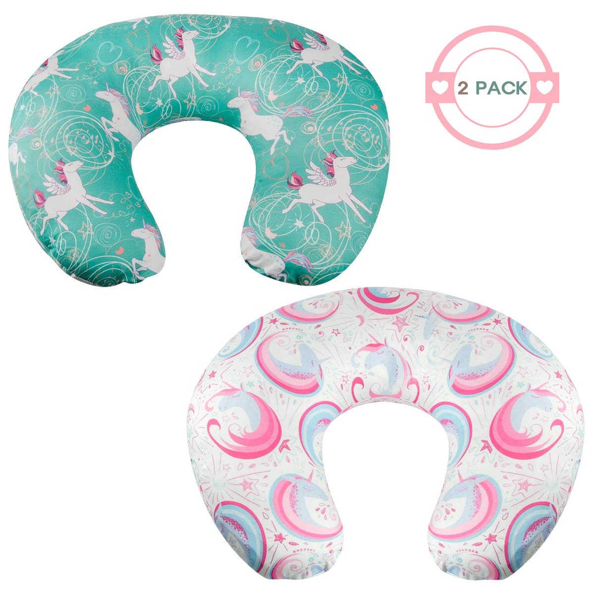 Nidoul Stretchy Nursing Pillow Covers, 2 Pack Unicorn Nursing Pillow Slipcovers for Breastfeeding Moms, Extra Soft Milk Fiber Cover for Standard Infant Nursing Pillows by Nidoul