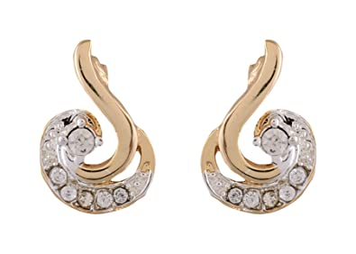 b74c5033ac587 Estelle Gold Alloy Round Peacock Stud Earring with Top Swarovski Crystals  for Women