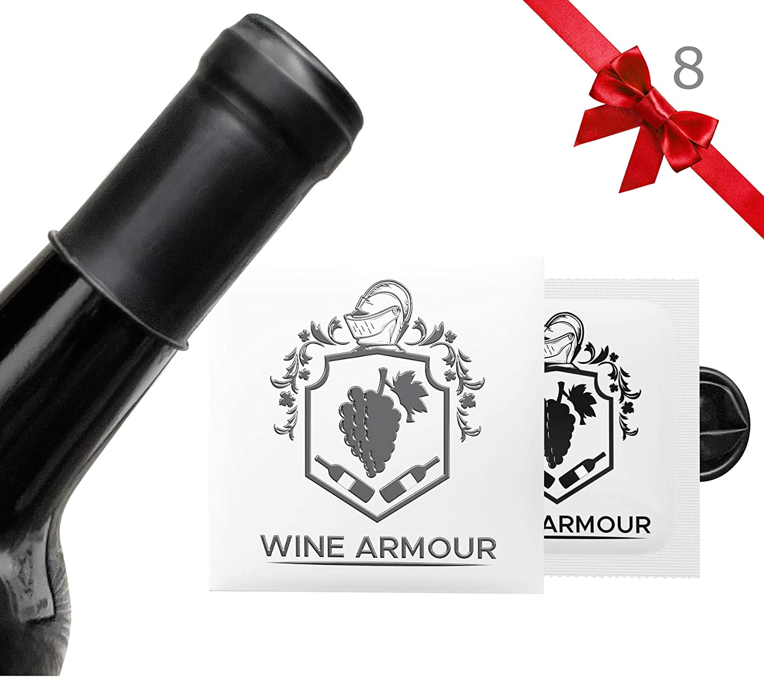 Wine Armour Wine Stoppers Set of 8 - Air Tight Seal Preserving Freshness - Food Grade Premium Latex – Practical and Funny Gag Gifts for Women and Men - Individually Packaged Black