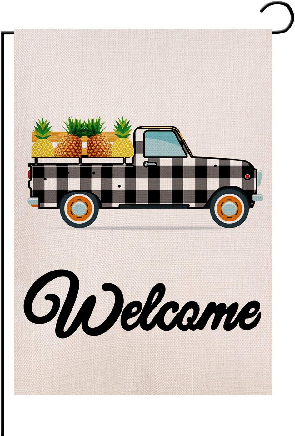 REUTGN Welcome Pineapple Truck Garden Flag Vertical Double Sided, Black and White Buffalo Check Plaid Rustic Truck Farmhouse Burlap for Spring Summer Outdoor Indoor Decoration 12.5 x 18 Inch