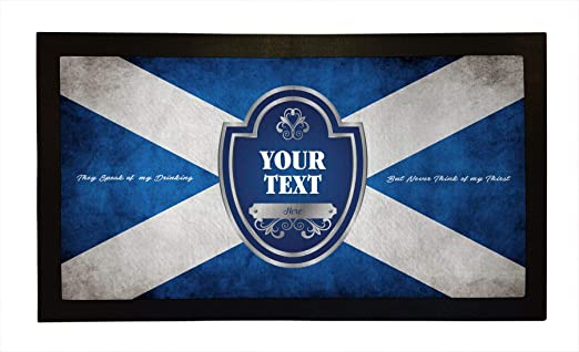 Personalised Bar Runners Scottish Flag Home or Pub Bar Mats Mens Gift Idea
