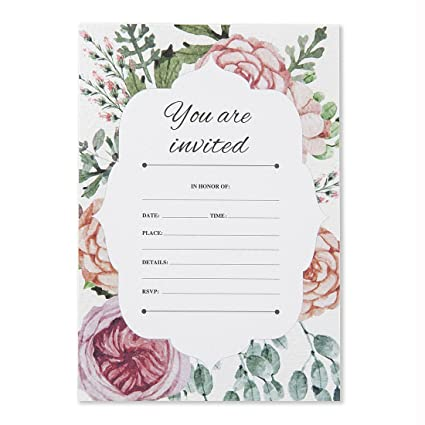 amazon com 30 fill in vintage floral invitations with envelopes