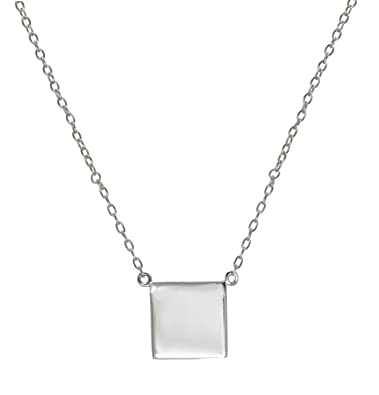 Amazon simple square 925 sterling silver pendant necklace simple square 925 sterling silver pendant necklace chain 16 17 inches christmas gift mozeypictures Image collections