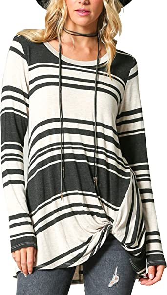 Blusa Sin Mangas para Mujer Camisas Rayas De Manga Larga ...