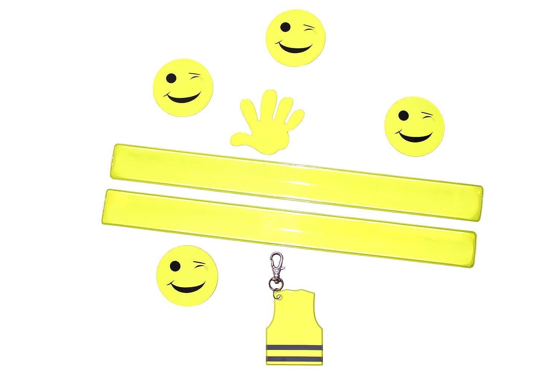 Sicherheit für Kinder, Erstklässler, Schulkinder, Kindergartenkinder - Sicherheitsausrüstung - 5 Sticker für Fahrrad, Helm, Schulranzen, 1 Schlüsselanhänger, 2 Schnappbänder sicherer Schulweg Sicherheit für Kinder Erstklässler sporty habits