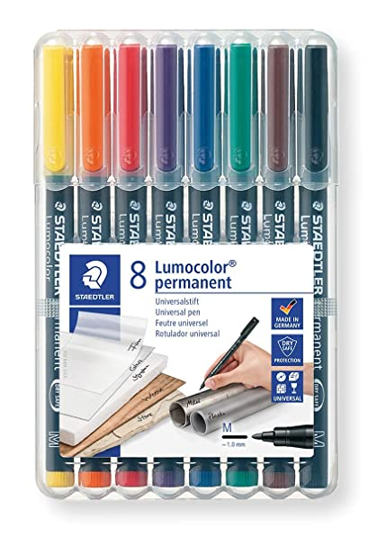 Staedtler Lumocolor 317 WP8 Universalstift, permanent, schnelltrocknend, wisch- und wasserfest, nachfüllbar, Strichbreite M -