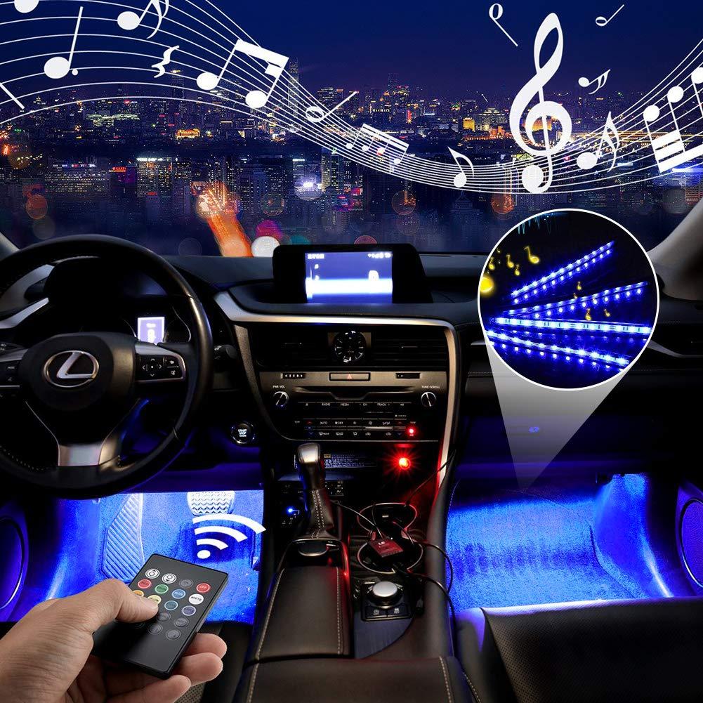 /Éclairage int/érieur de voiture Haofy port USB et chargement de la voiture 4 morceaux de 48 bandes LED multicolores pour voiture de musique feux avec son actif et t/él/écommande