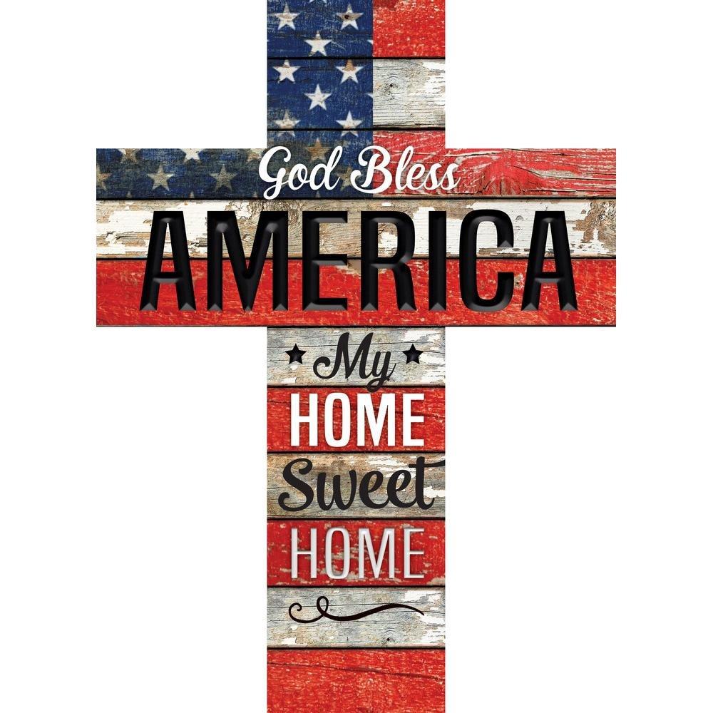 God Bless America Home Sweet Home Flag 24 x 18 Wood Wall Art Plaque Cross