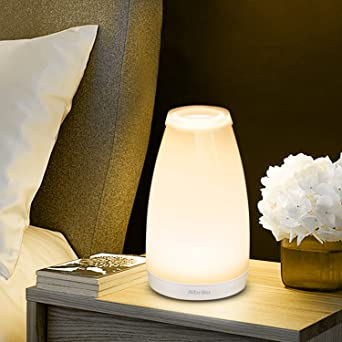 Albrillo Table Lamps, Touch Sensor Bedside Lamp Vase With Remote Control,  Rechargeable, Dimmable