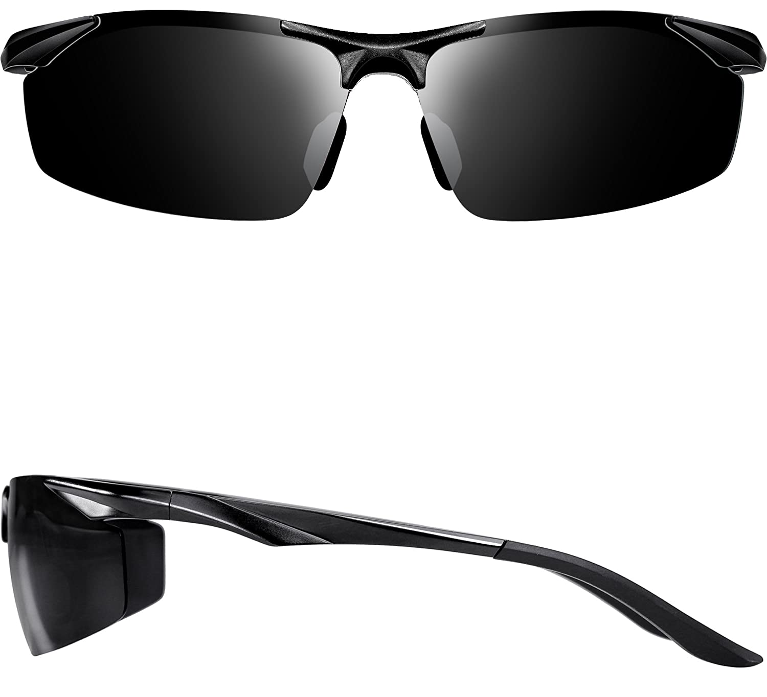2ae03fef09 Amazon.com  ATTCL Men s Sports Polarized Sunglasses Driver Golf Fishing  Al-Mg Metal Frame 2206 Black  Clothing