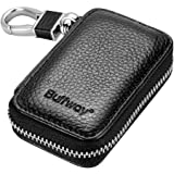 Buffway Car key case,Genuine Leather Car Smart Key Chain Coin Holder Metal Hook and Keyring Wallet Zipper Bag for Auto Remote Key Fob - Black
