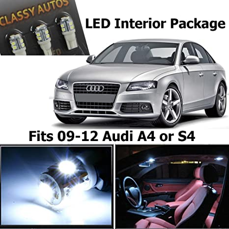 Classy Autos A4 S4 White LED Lights Interior Pacge Kit B8 (10 Pieces) by