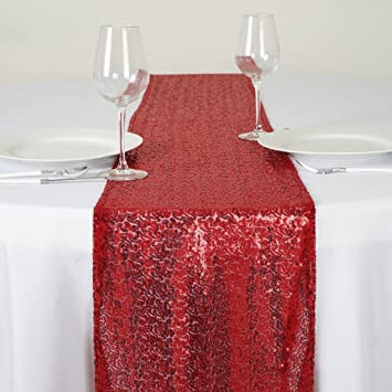 Lovely Efavormart Burgundy Sequin Table Runners   Table Top Wedding Catering Party  Decorations 108x12u0026quot;