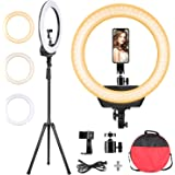 ZOMEi Ring Light with 80-inch Stand, Bi-Color 3200-5600K Dimmable LED Ring Light Color Temperature for Video Shooting…