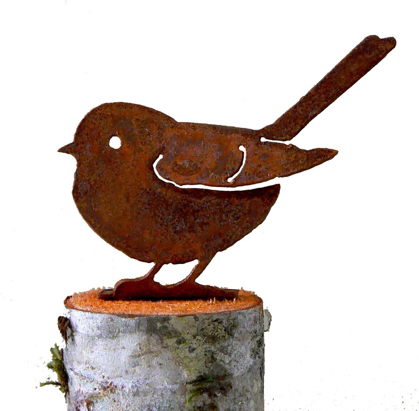 Elegant Garden Design Fat Chickadee, Steel Silhouette with Rusty Patina