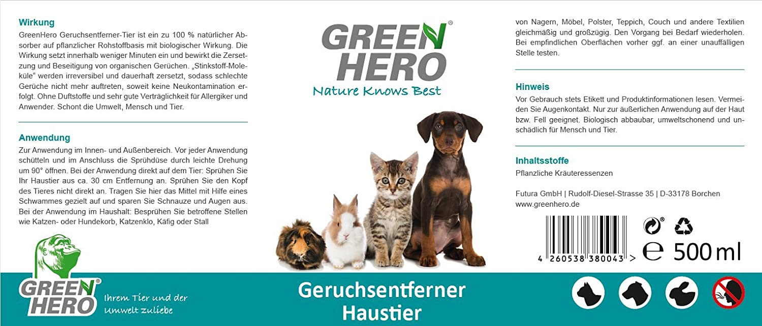 Spray para mascotas Green Hero, neutraliza al 100 % los olores de ...
