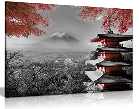 Japanese Temple In Autumn Black White Red Canvas Wall Art Picture ...