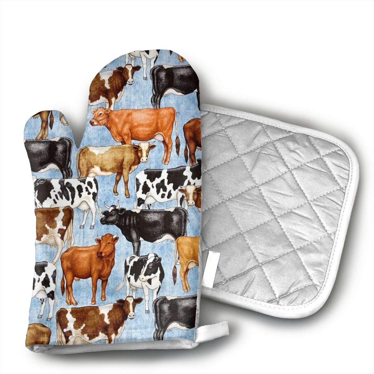 Sjiwqoj8 Bountiful Farm Animals Kitchen Oven Mitts,Oven Mitts and Pot Holders,Heat Resistant with Quilted Cotton Lining,Cooking,Baking,Grilling,Barbecue