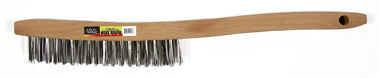 Wood Handle Hot Max 22041 3x19 Stainless Steel Wire Brush