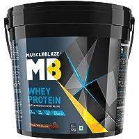 MuscleBlaze 100% Whey Protein - 8.8 lb/ 4 kg, 121 Servings (Rich Milk Chocolate)