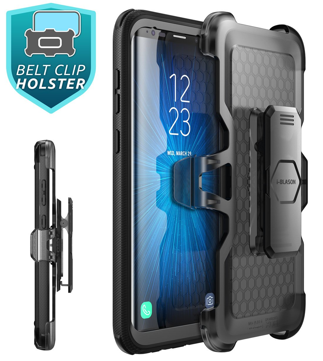Galaxy S9+ Plus Case, i-Blason [Armorbox V2.0] [Full body] [Heavy Duty Protection ] [Kickstand] Shock Reduction/Bumper Case with Screen Protector for Samsung Galaxy S9+ Plus (2018 Release) (Black) by i-Blason (Image #5)