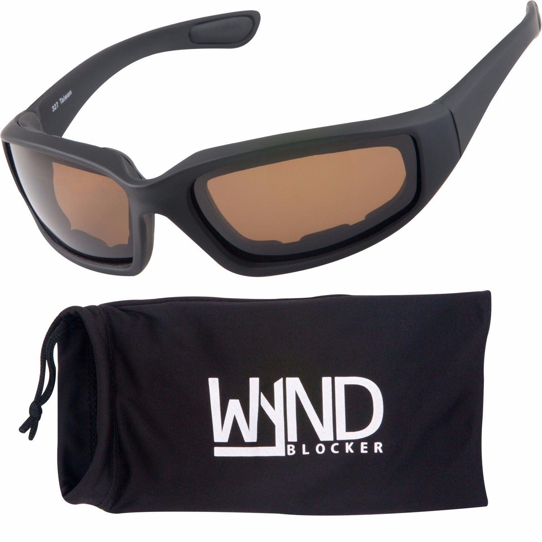 bf0962b522 Amazon.com  WYND Blocker Polarized Motorcycle   Fishing Floating Sports  Wrap Sunglasses (Black PZ Amber Lens)  Clothing