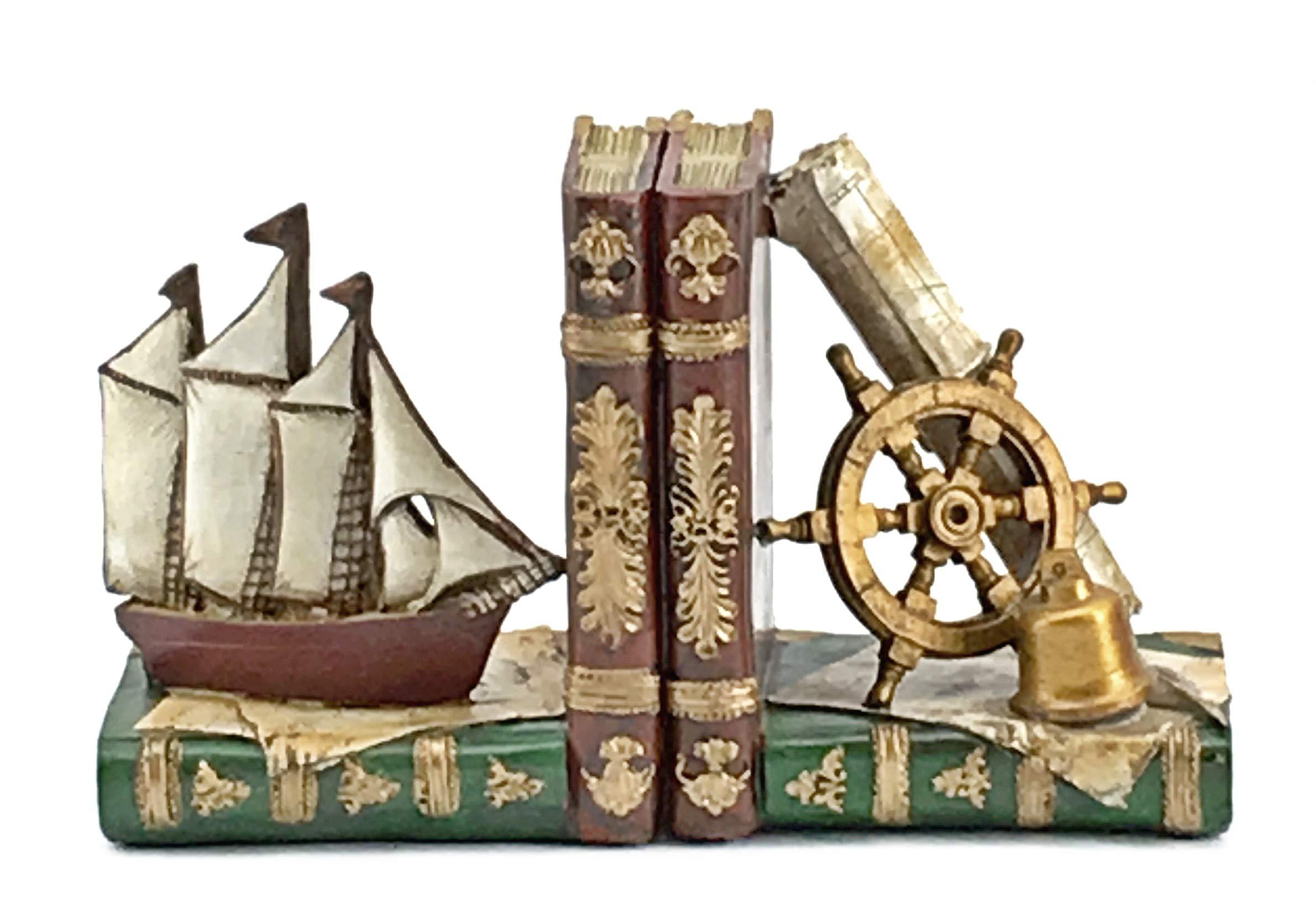 Bellaa 24247 Ship Bookends Nautical Pirate Sailboat Decor 6''