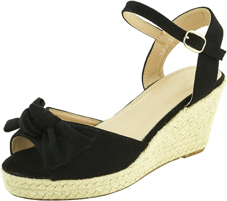 Chaussure Mode Espadrille Sandale Plateforme Cheville Femmes
