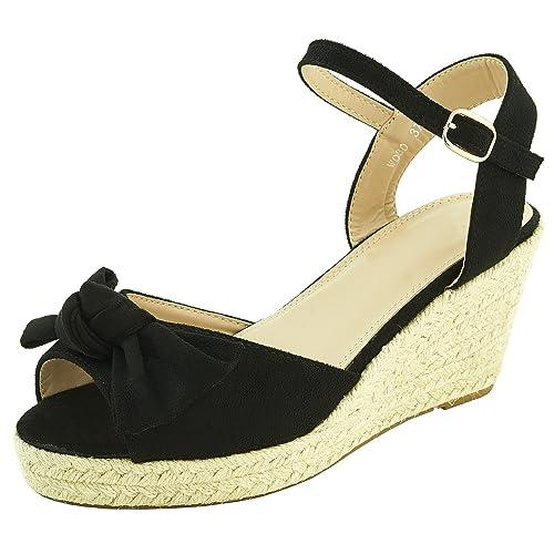 Sopily Zapatos de Moda Para Mujer Alpargatas Gamuza - Sandalias Zapatos de Cordones Para Plataforma -