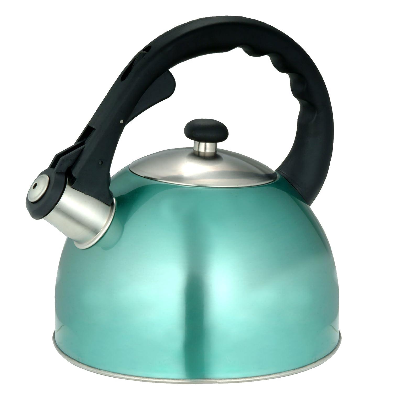 Creative Home Satin Splendor Metallic 2.8 Quart whistling Tea Kettle Blue