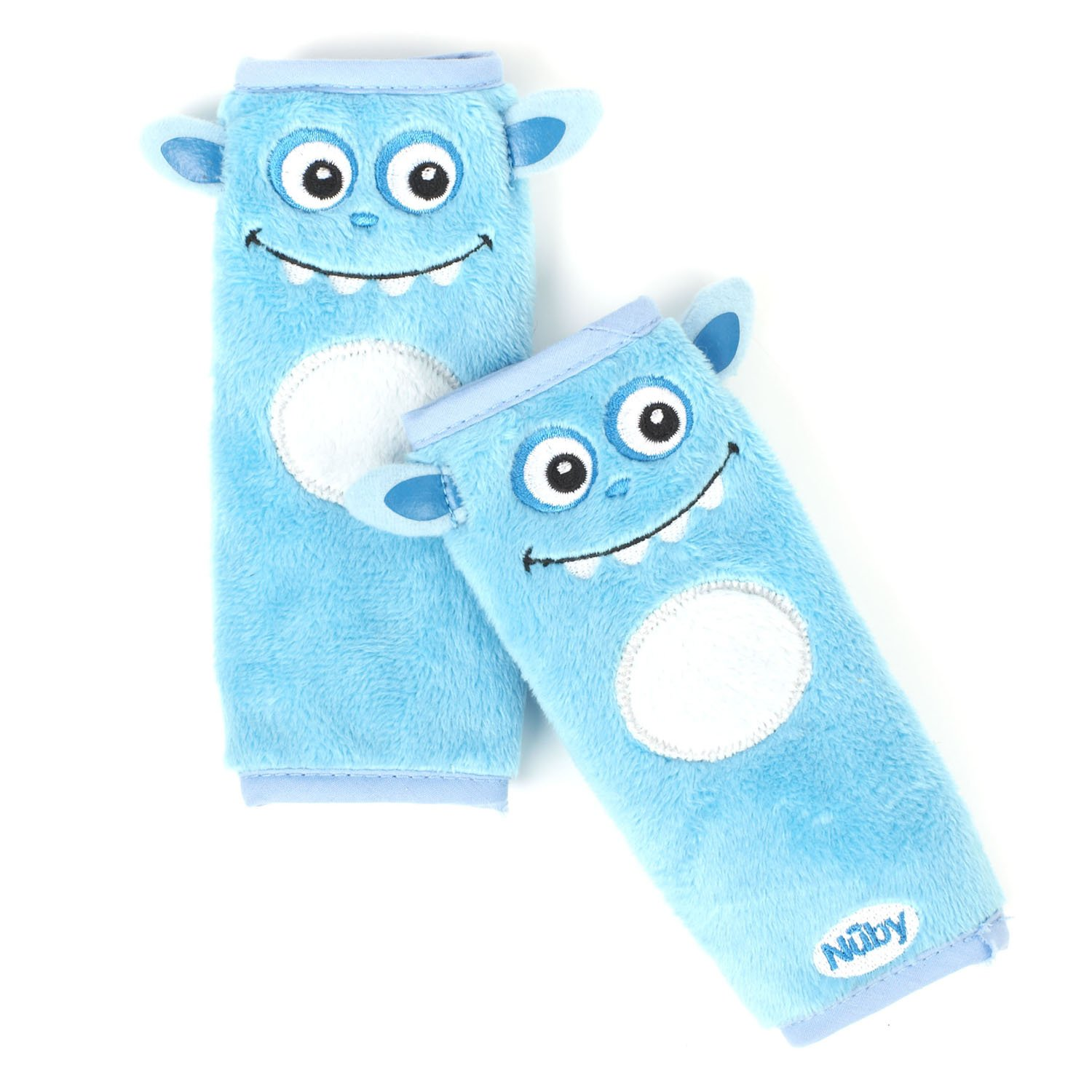 Nuby Car Seat StrapCovers 2 Pack, Blue Monster