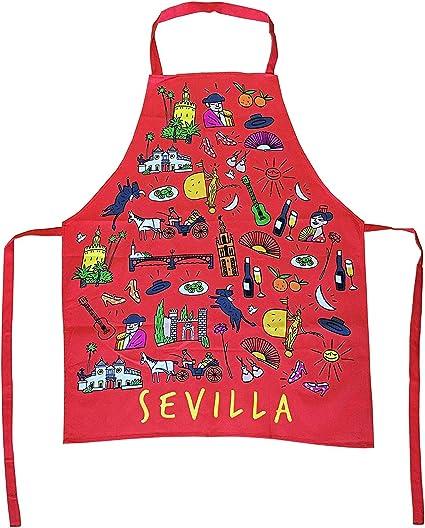 TBOC Delantal de Cocina [Rojo] - 100% Algodón Souvenir con Motivos ...