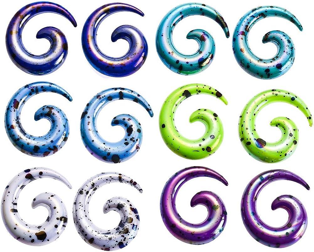 12 Piezas Dilatador Caramel Cuerno Espiral de Acrílico--Expansor ...
