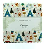 Fabric Freedom Camping Brights Freedom Charm, 100% Cotton, Multicoloured, 13 x 13 x 1.5 cm