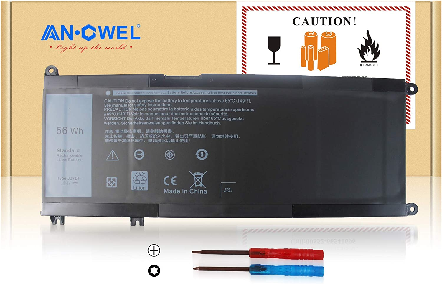 Angwel 33YDH Laptop Battery for Dell Inspiron 13 7353 Inspiron 17 7000 7773 7778 7779 Dell G3 15 3579 G3 17 3779 G5 15 5587 G7 15 7588 Latitude 13 3380 14 3490 15 3590 3580 Series[15.2V 56Wh 3500mAh]