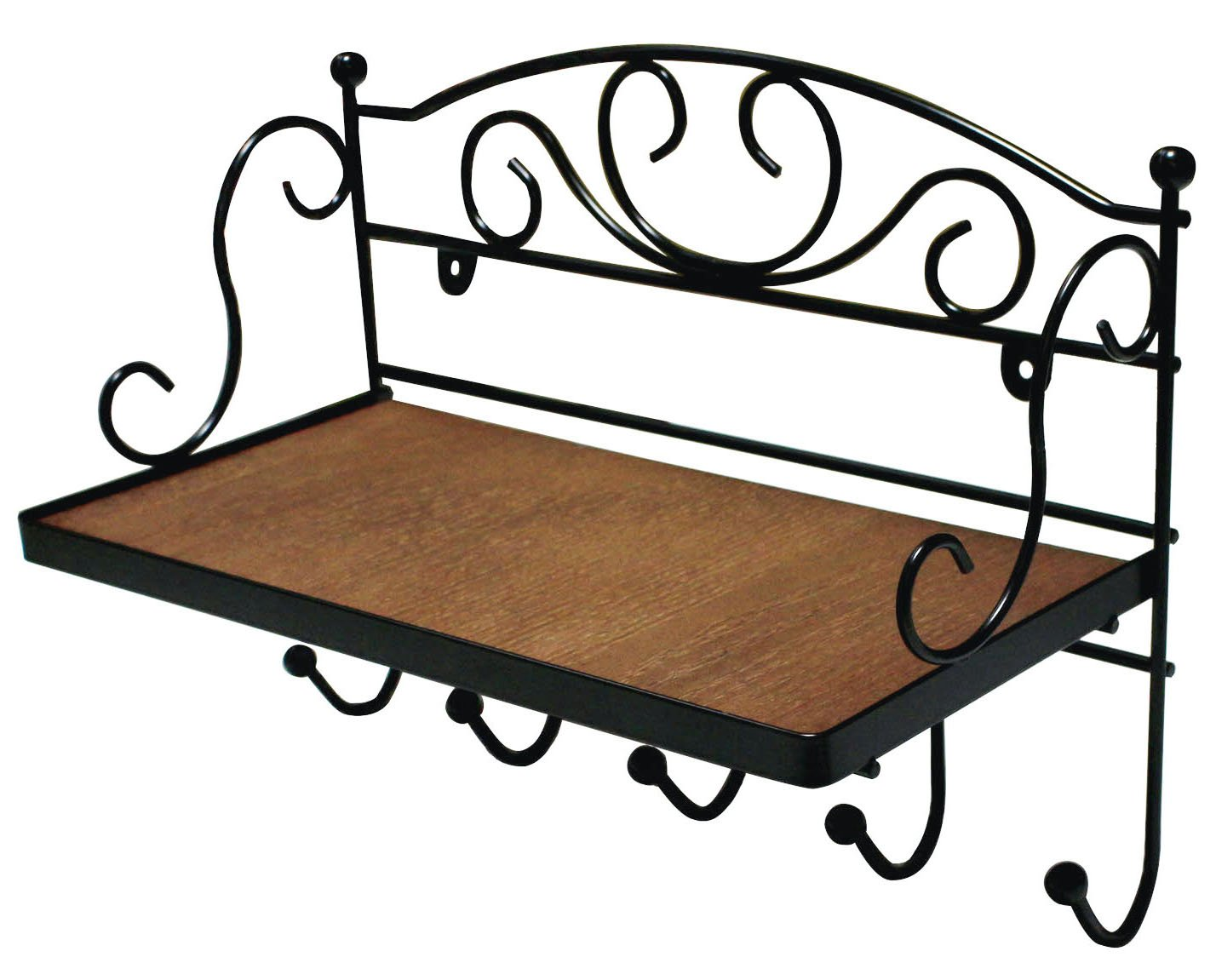 JustNile Antique Wall Mounted Solid Wooden Shelf with 5 Hanging Hooks; Classic Style Shelf and Rack; Easy to Install, for Mugs, Keys, Coats, Scarfs; Rustic Iron Frame Design by JustNile