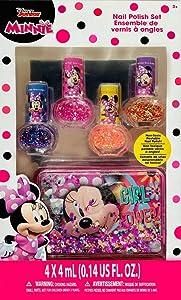 Townley Minnie Nail Polish Set for Girls with Sparkles Nail Kit of 4 Nail Art Non-Toxic Peelable Nail Polish with Cute Aquarium Case Gift