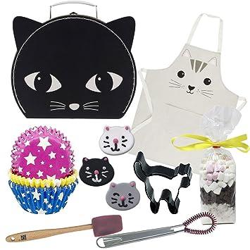 Partypartycompany - Maleta de gato grande con herramientas para hornear y accesorios, color negro: Amazon.es: Hogar