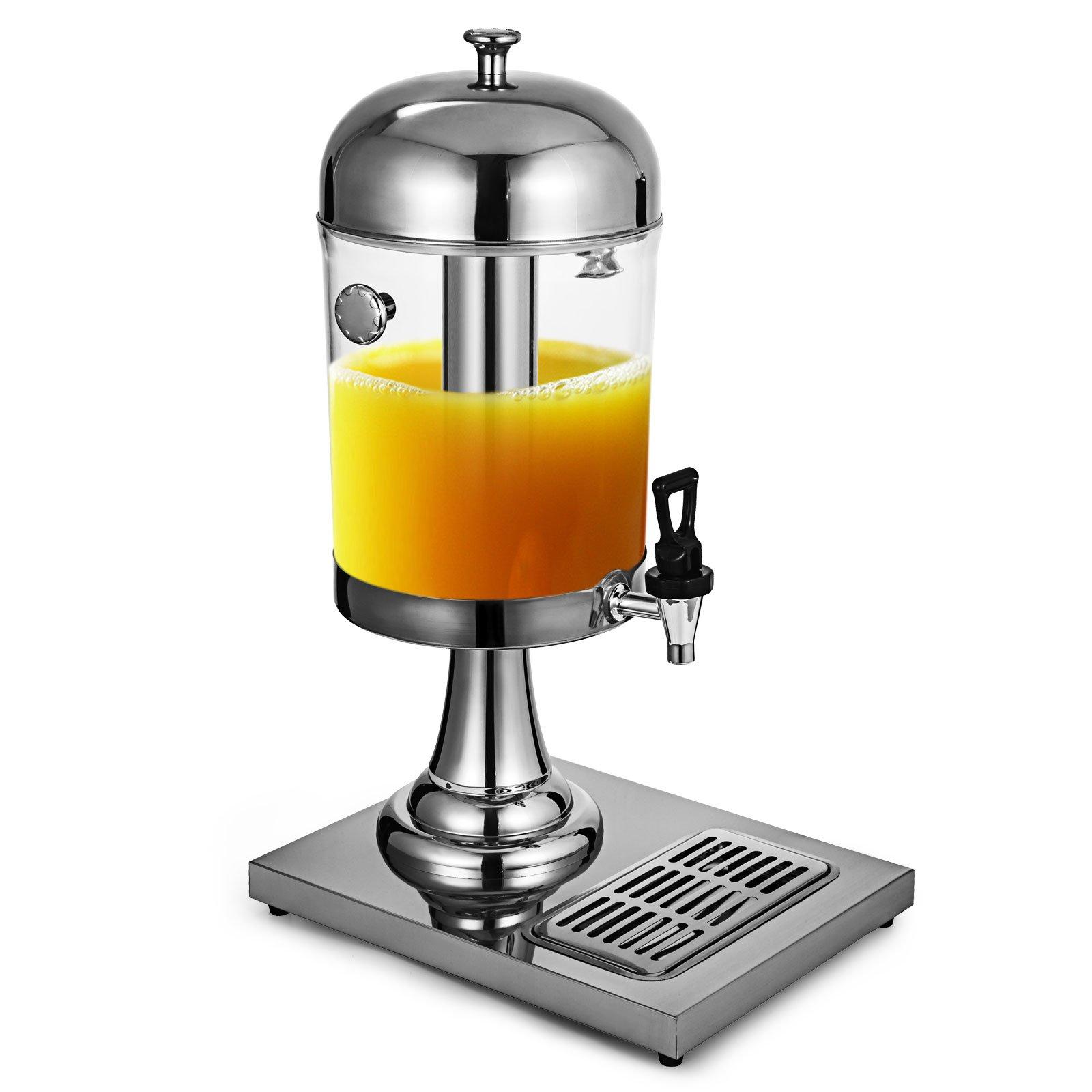 OrangeA Round Stainless Steel Beverage Drink Dispensers 8L/2.1 Gallon Heavy Duty Cold Juice Drink Commercial Dispenser Beverage dispenser (8L)
