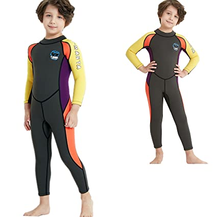 1113d07ce3 Dyung Kids Wetsuit 2.5mm Neoprene Back Zipper Warm Swimsuit for Girls and  Boys Surfing Swimming