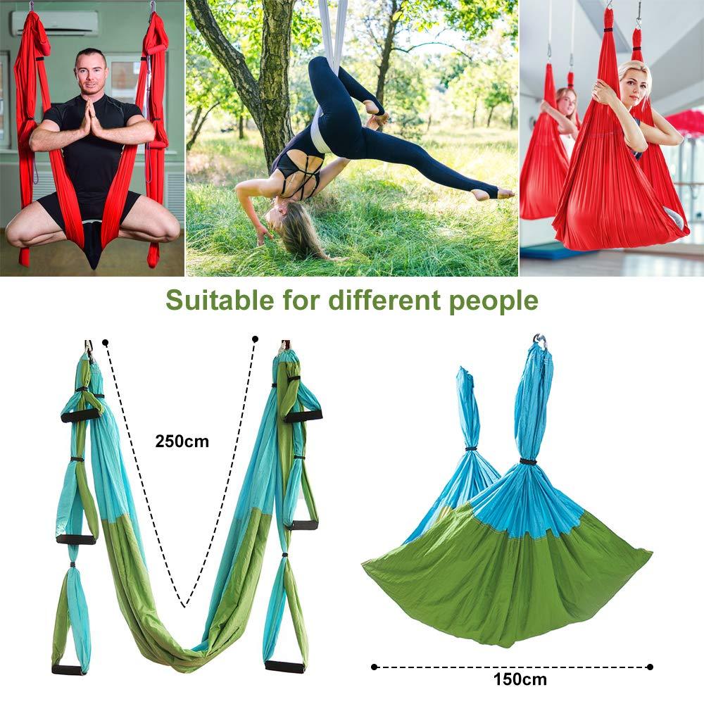 MelkTemn Columpio de Yoga Aéreo Hamaca de Yoga/Yoga Aéreo/Yoga Trapecio,Tafetán de Nailon Antigravedad Swing Sling Inversión para Colgarse y Aliviar ...