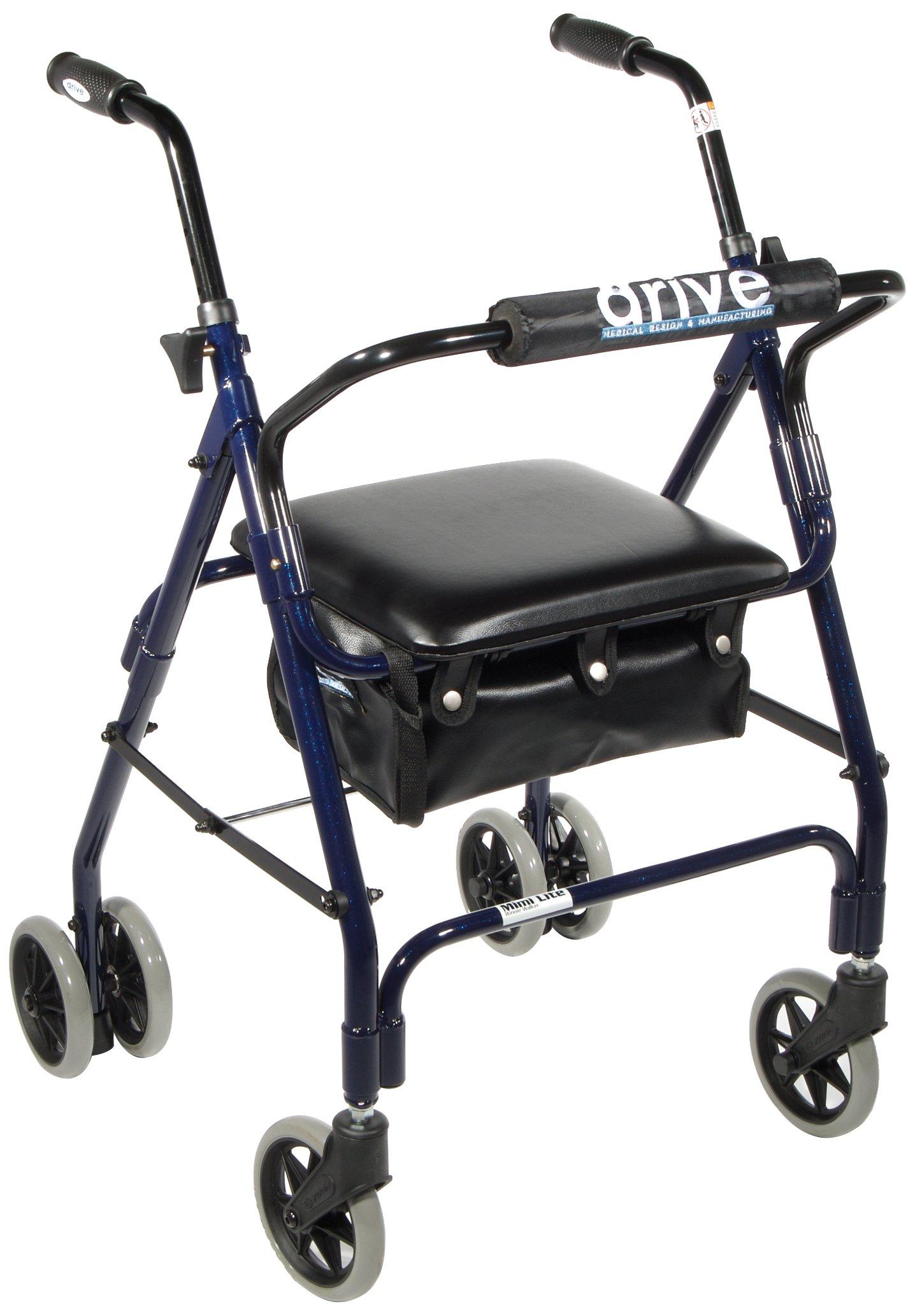 Drive Medical 510 Mimi Lite Push Brake Rollator Walker