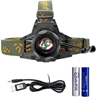 Head Torch 2 LEDs Blue&White Dual Light Headlamp USB Rechargeable Zoomable Bright 350lum Headlight-Up to 10h Constant Light-Blue Hunting Fishing Light-Bonus 2200mAh Battery&Premium USB Cable