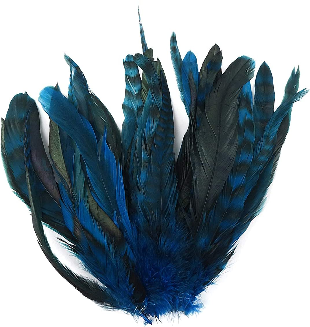 ZUCKER 25pc Rooster Chinchilla Tail Feathers - 8-10 inch Colorful Rustic Craft Supply for DIY Home Decor - Dark Turquoise Blue