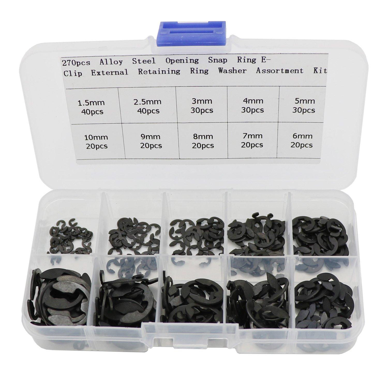 270 pcs Alloy Steel Opening Snap Ring, E-Clip External Retaining ...