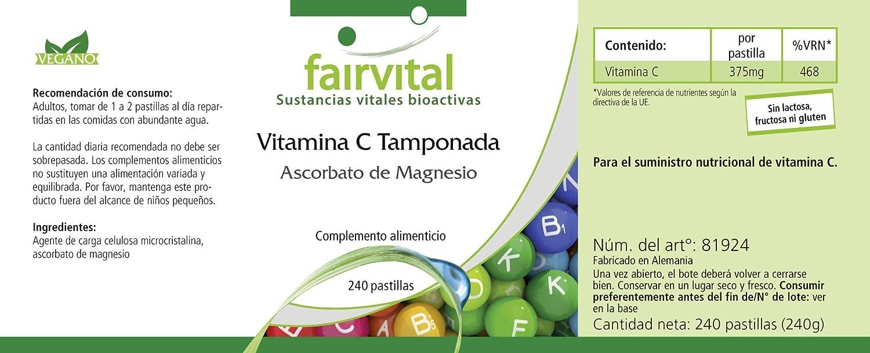 Tamponada vitamina C como ascorbato de magnesio - A GRANEL durante 8 meses - VEGANO - 240 tabletas - fáciles de digerir: Amazon.es: Salud y cuidado personal