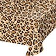 "Creative Converting TABLECOVER PL 54"" X 108"" AOP Leopard Animal Print Plastic Tablecloth, 54 x 108, Multicolor"