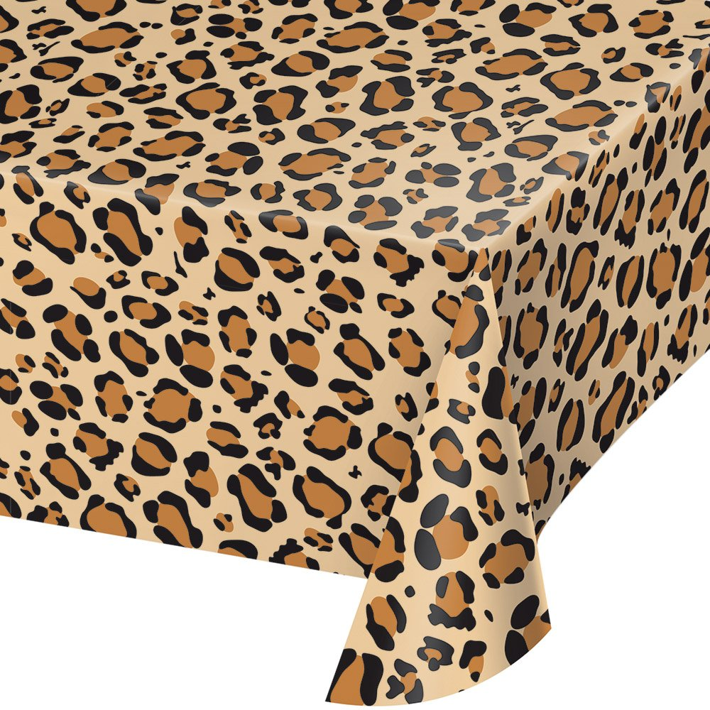 Creative Converting 329660 TABLECOVER PL 54'' X 108'' AOP LEOPARD PRINT, 54 x 108'', Multicolor